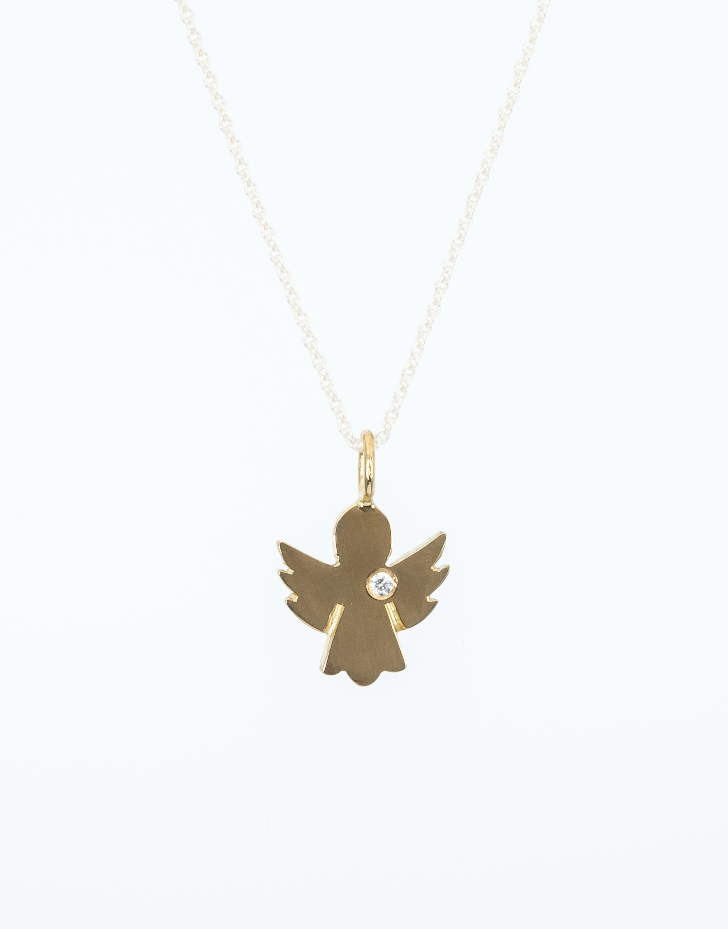 Yellow gold angel pendant with brilliant schroll kitzbhel yellow gold angel pendant with brilliant 002ct aloadofball Images