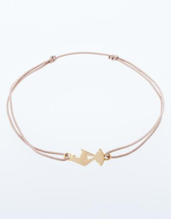 Lucky charm bracelet with yellow gold chamois
